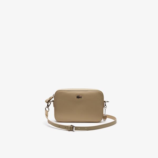 Lacoste Women's Daily Classic Coated Piqué Canvas Square Zip Shoulder Bag
