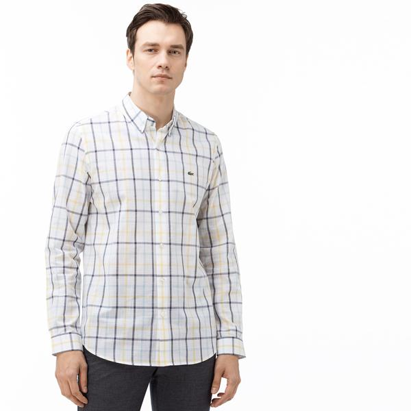Lacoste Men's Slim Fit Buttoned-Up Collar Chequered Shirt