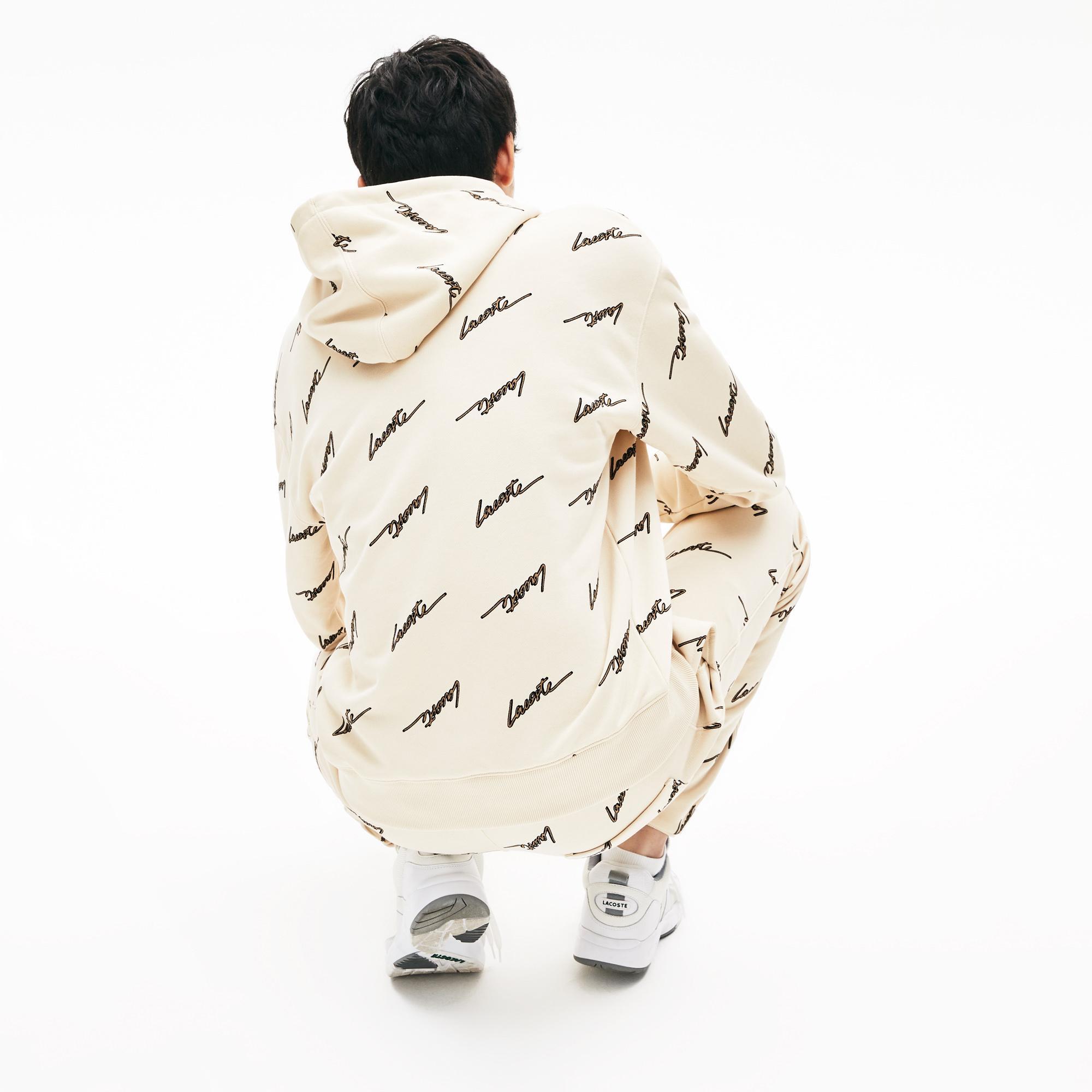 Lacoste Men's LIVE Hooded Print Fleece Sweatshirt