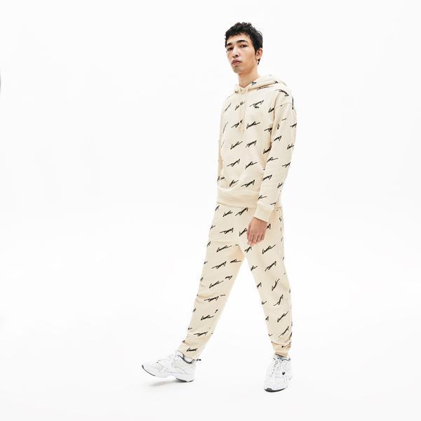 Lacoste Men's Lıve Hooded Print Fleece Sweatshirt