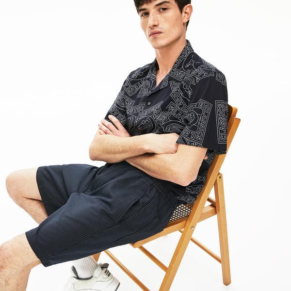 Lacoste Men's Fine Striped Cotton And Linen Blend Bermudas