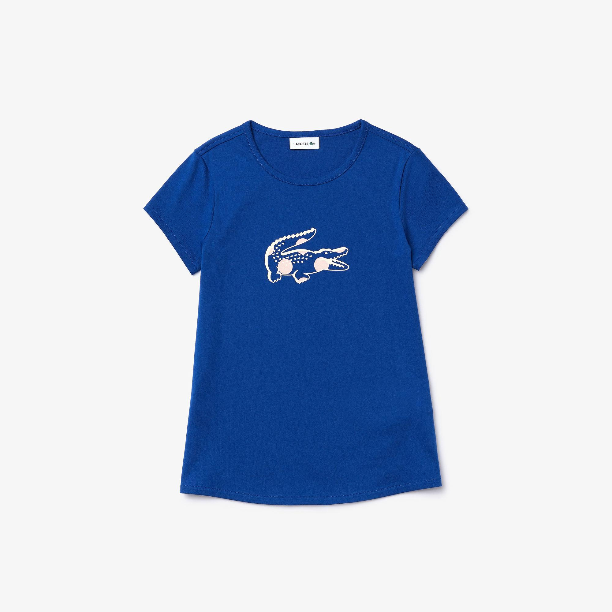 Lacoste Girl's Printed Cotton Crew Neck T-Shirt
