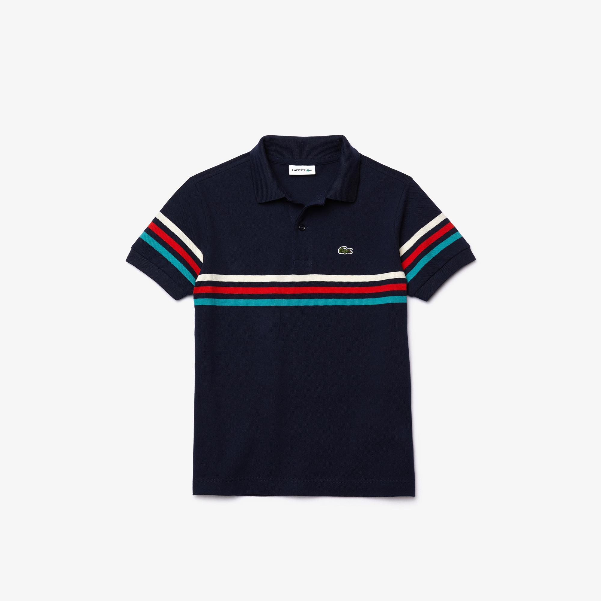 Lacoste Boys' Tricolour Striped Cotton Piqué Polo