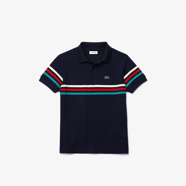 Lacoste Boys' Tricolour Striped Cotton Piqué Polo