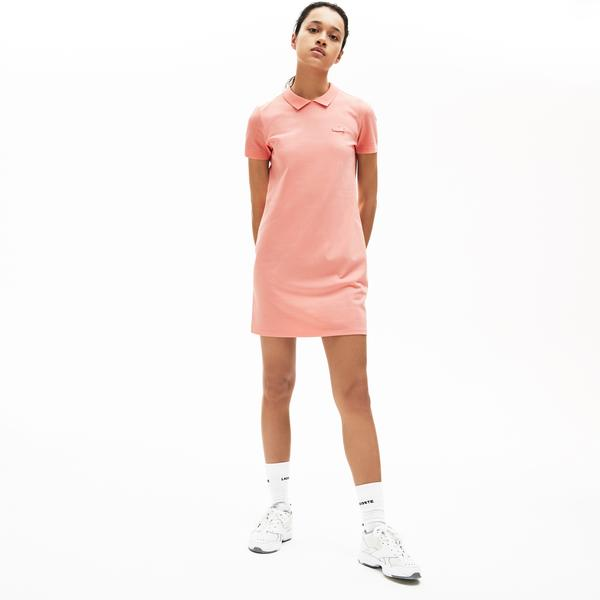 Lacoste Women's Lıve Stretch Piqué Velvet Crocodile Polo Dress