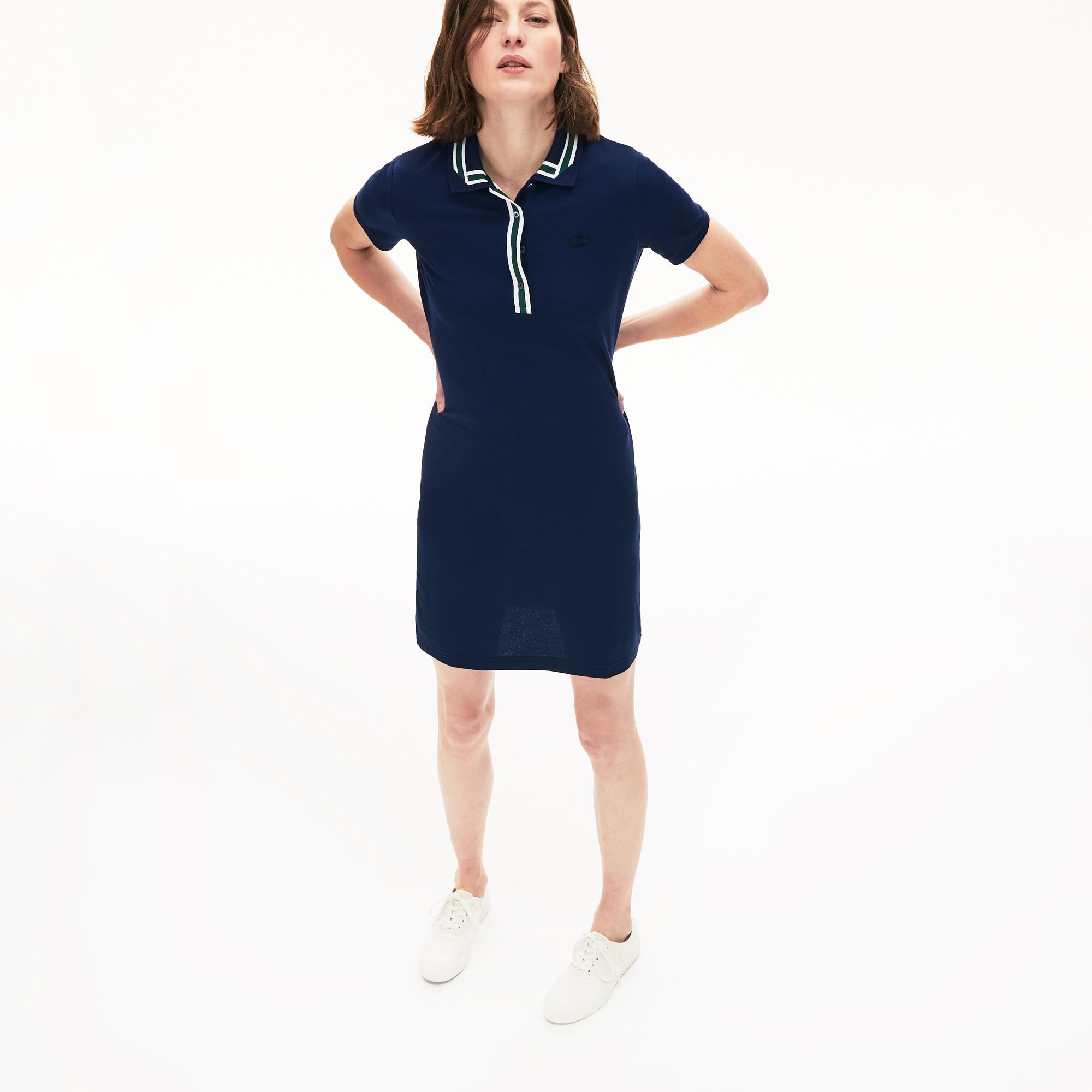 Lacoste Women's Contrast Stretch Cotton Polo Dress