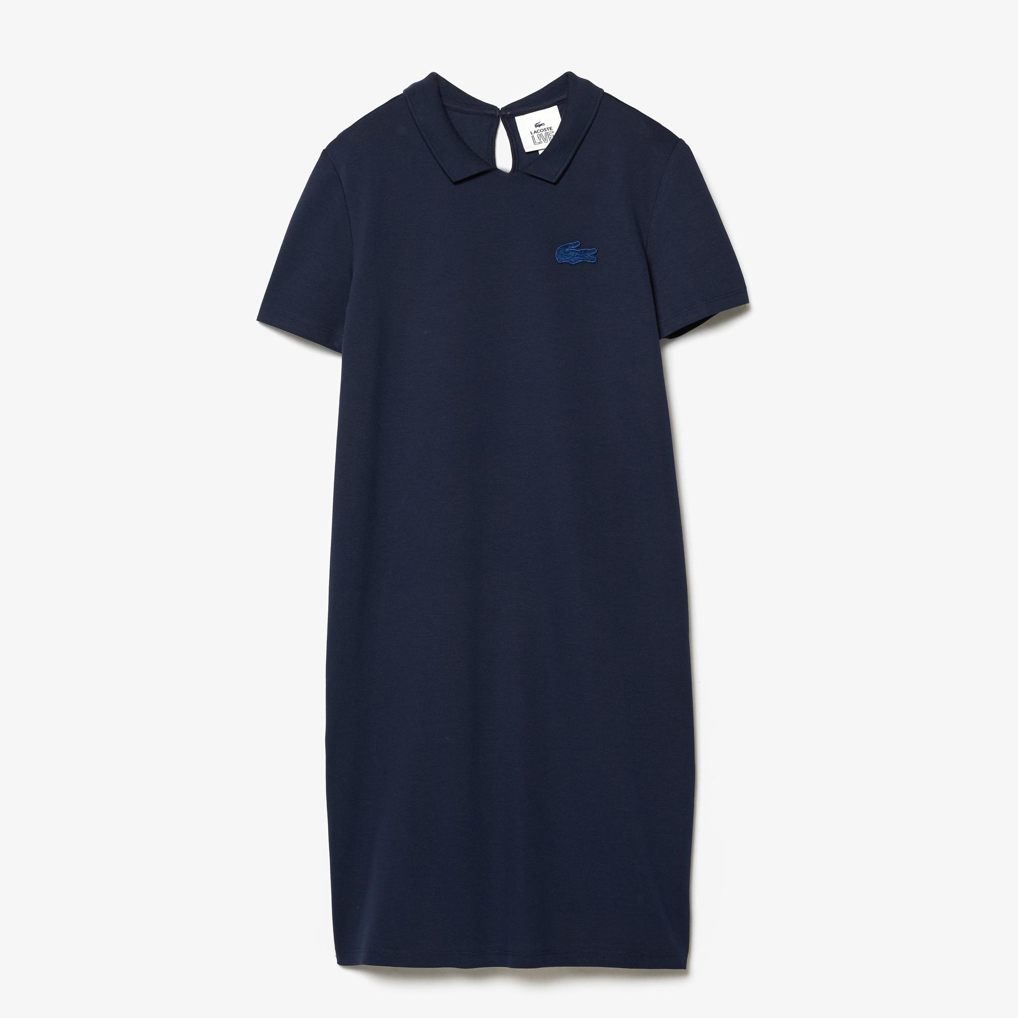 Lacoste Women's LIVE Stretch Piqué Velvet Crocodile Polo Dress