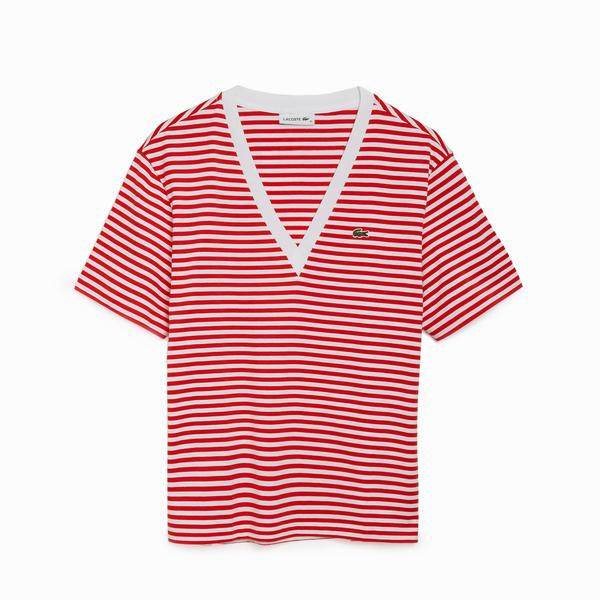 Lacoste Women's Striped V-Neck Cotton T-Shirt