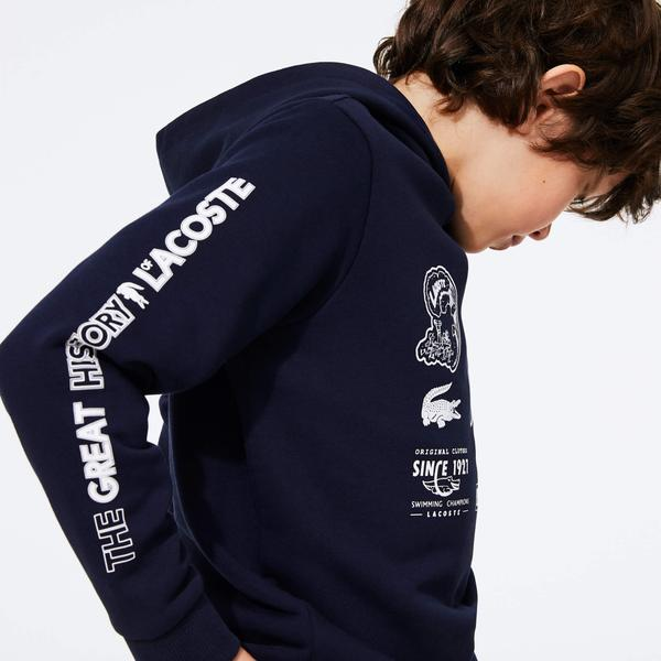 Lacoste Boy's Heritage Print Hooded Fleece Sweatshirt