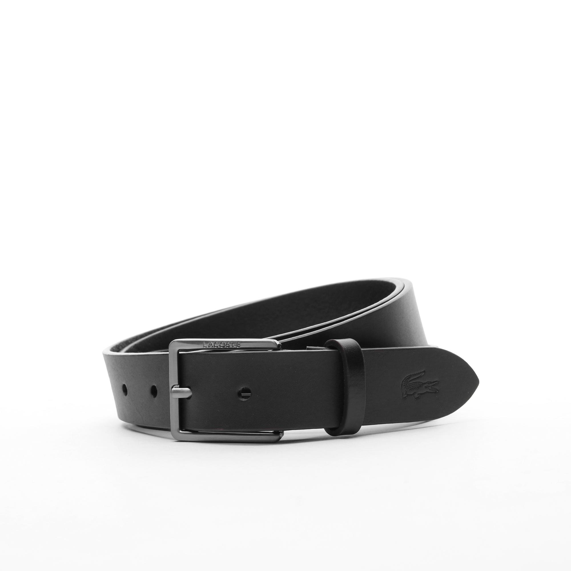 Lacoste Men's Engraved And Embossed Crocodile Leather Tongue Buckle