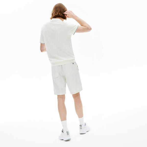 Lacoste Men's Fine Striped Cotton And Linen Blend Bermudas