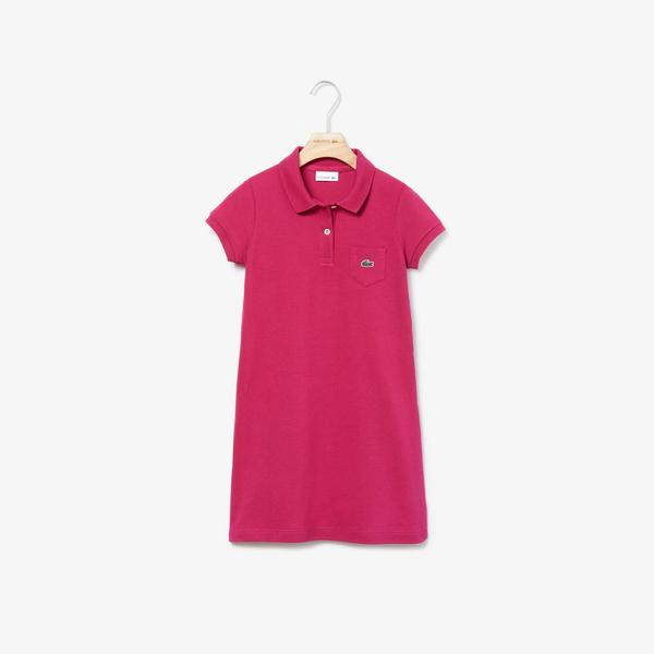 Lacoste Girls' Flared Dress İn Solid Mini Piqué Cotton