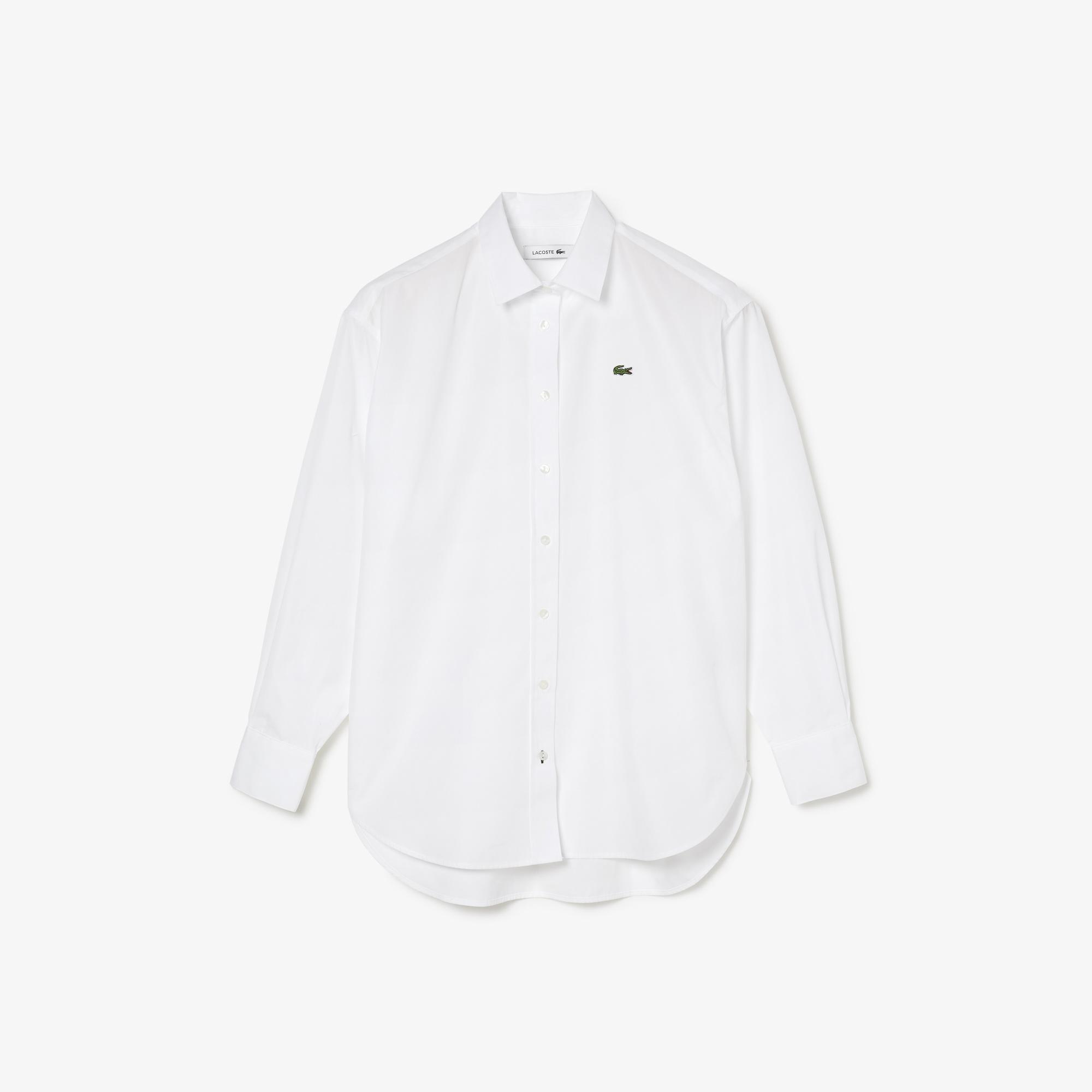 Lacoste Women's Oversized Striped Cotton Poplin Shirt