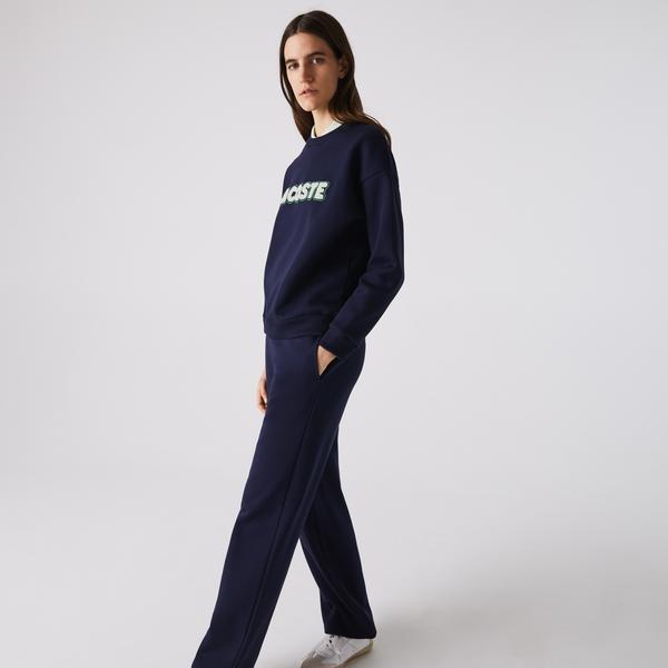Lacoste Women's Crew Neck Embroidered Fleece Sweatshirt