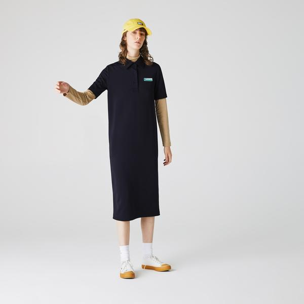 Lacoste Women's Lıve Straight Cut Badge Flowing Polo Dress
