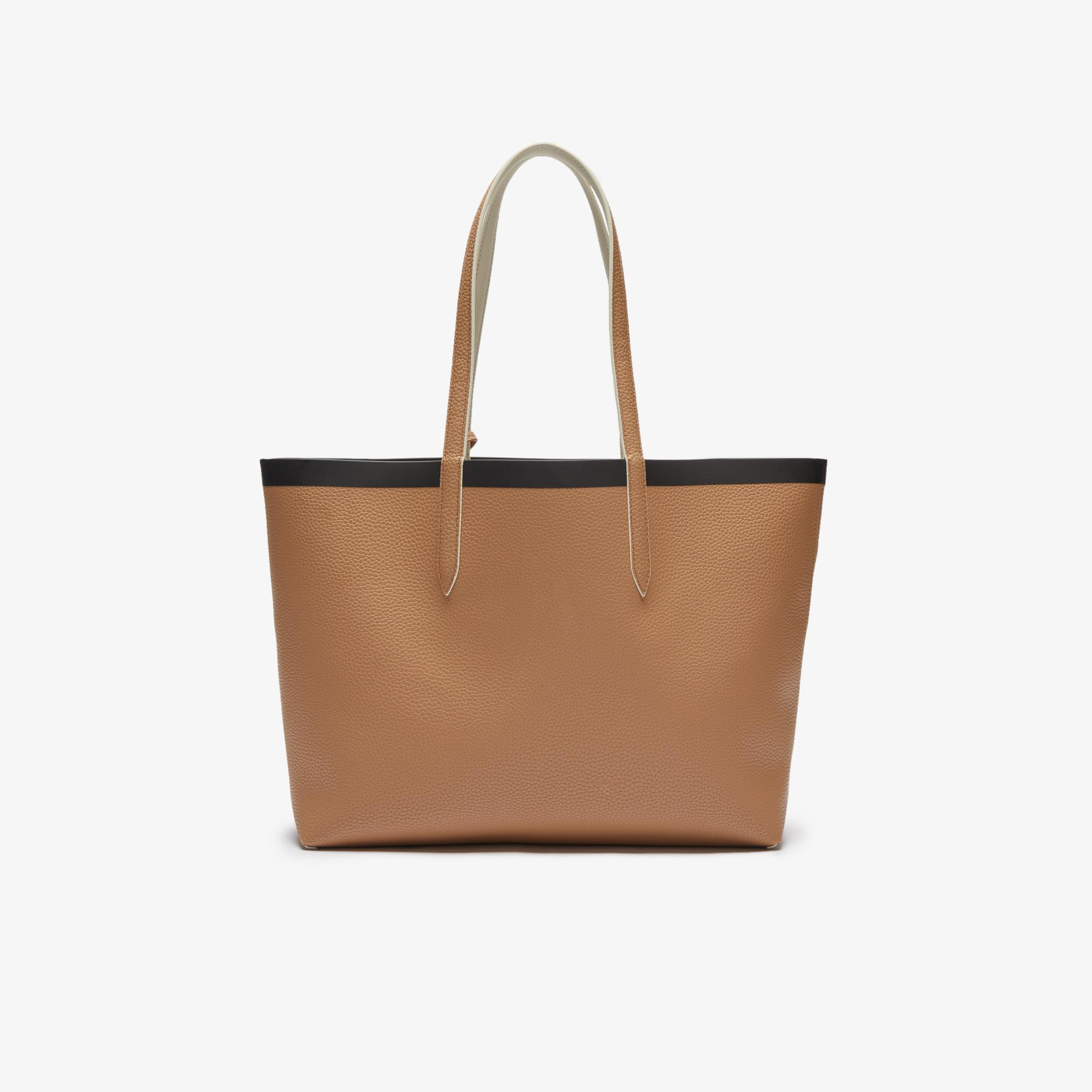 Lacoste Women's Anna Reversible Contrast Band Coated Canvas Tote Bag