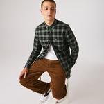 Lacoste Men's Regular Fit Cotton Twill Checkered Shirt
