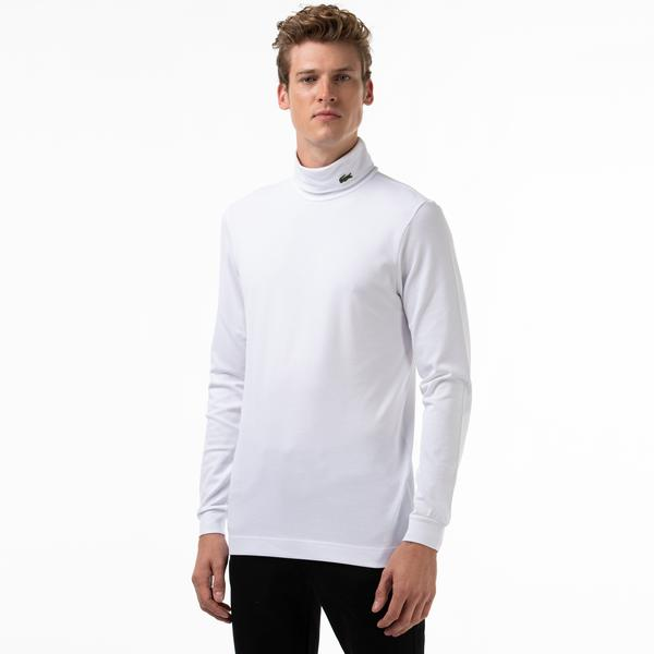 Lacoste Men's Turtleneck Stretch Organic Cotton Piqué T-shirt