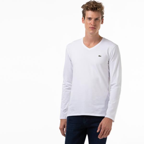 Lacoste Men's V Neck Long Sleeve White T-shirt
