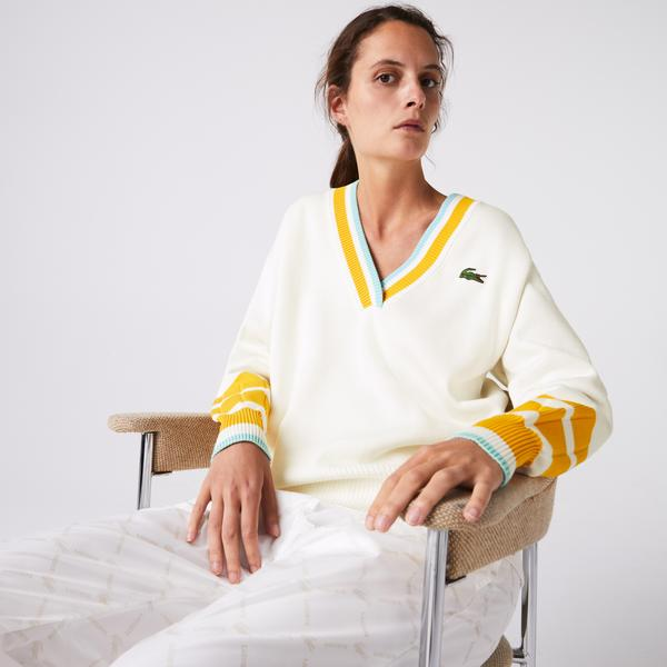 Lacoste Women's Low V-neck Loose Fit Cotton Blend Sweater