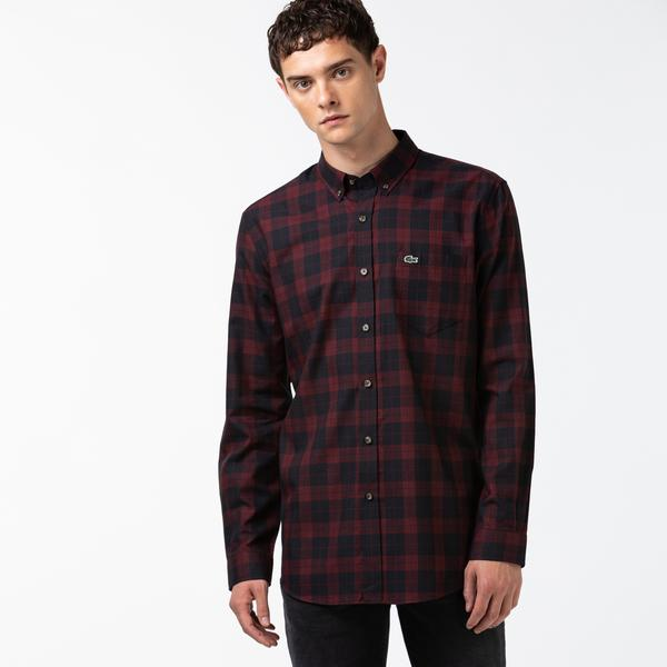 Lacoste Men's Regular Fit Cotton Twill Checkered Shirt