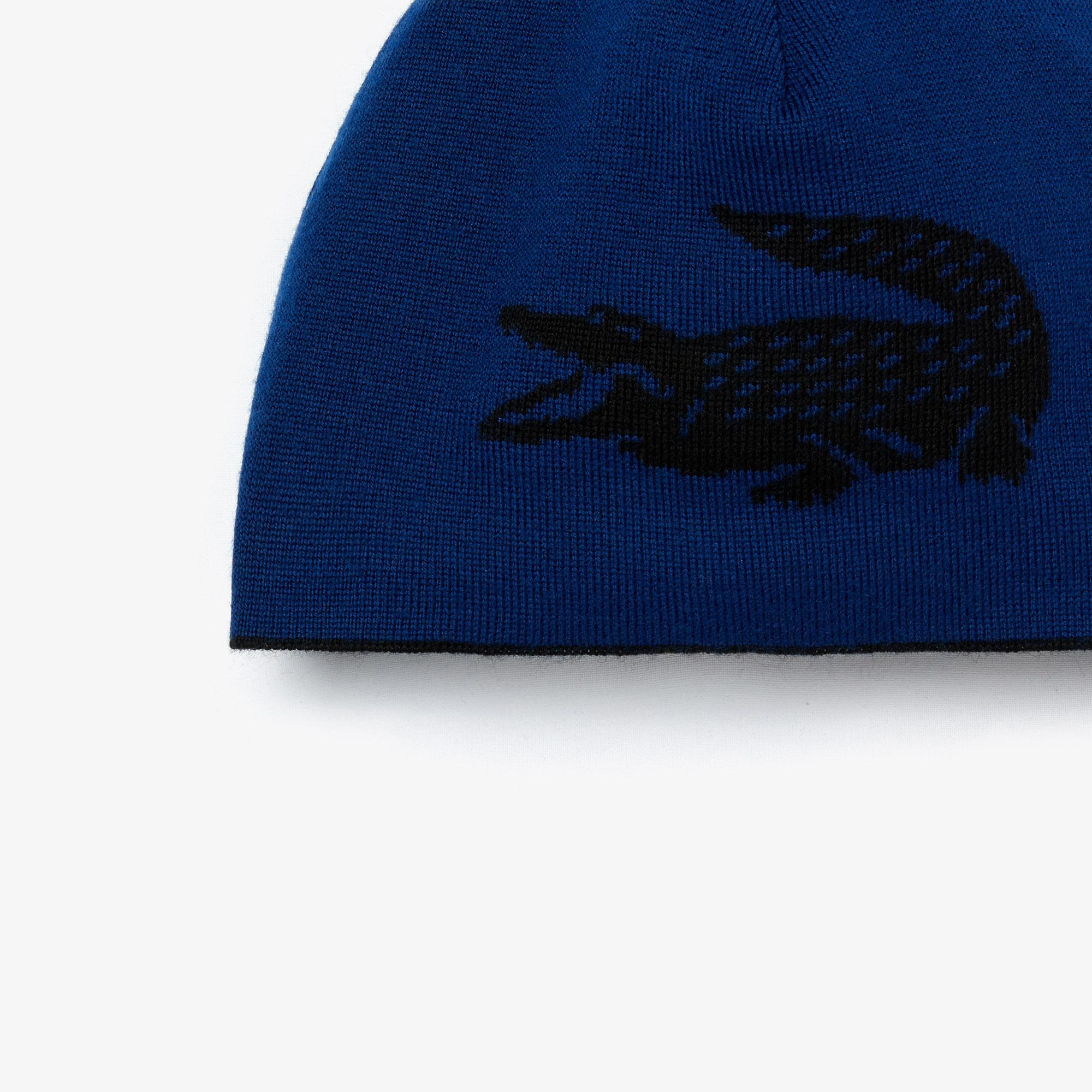 Lacoste Men's Oversized Contrast Crocodile Reversible Wool Beanie