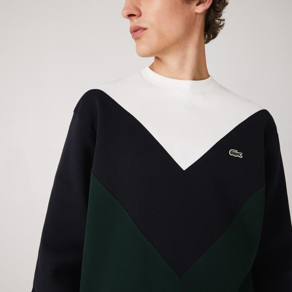 Lacoste Men's Colorblock Cotton Blend Crew Neck Sweatshirt
