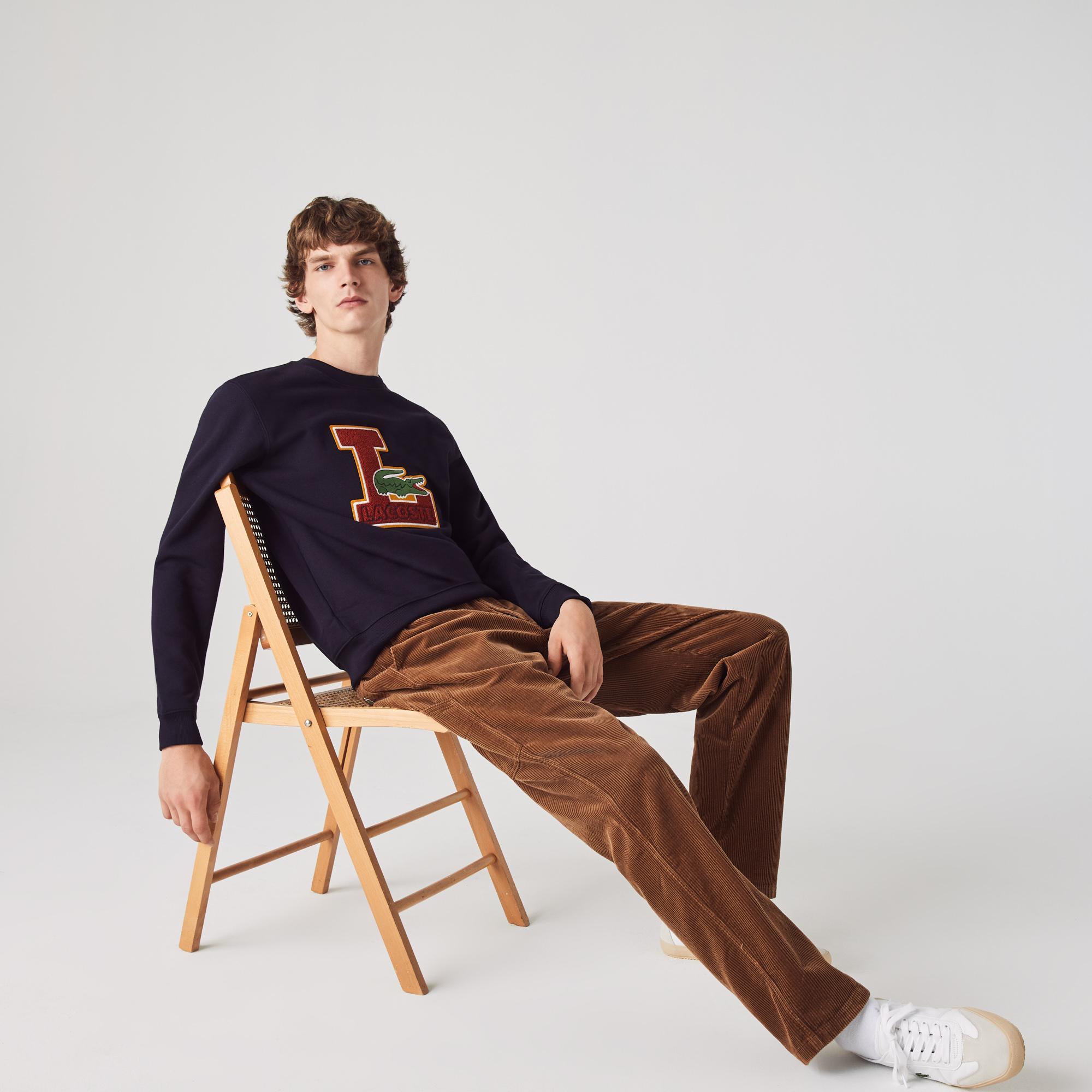 Lacoste Men's Crew Neck Badge Fleece Sweatshirt