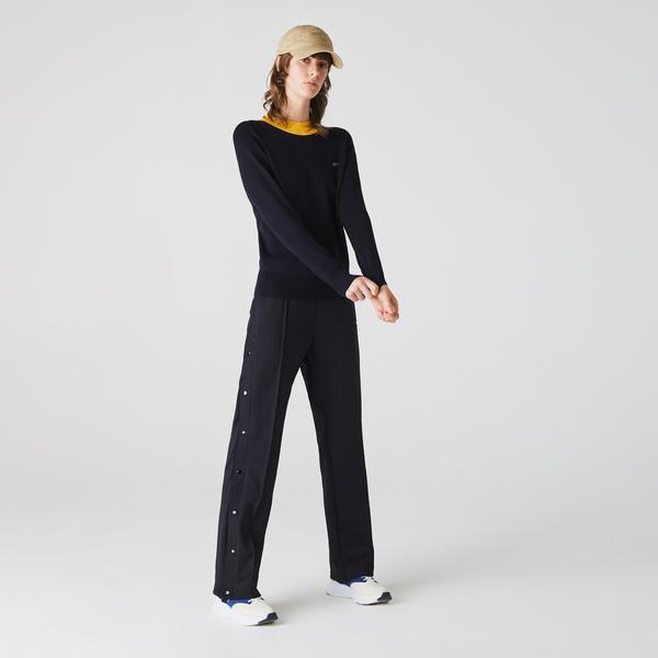 Lacoste Women's LIVE Metal Croc Lightweight Turtleneck Sweater
