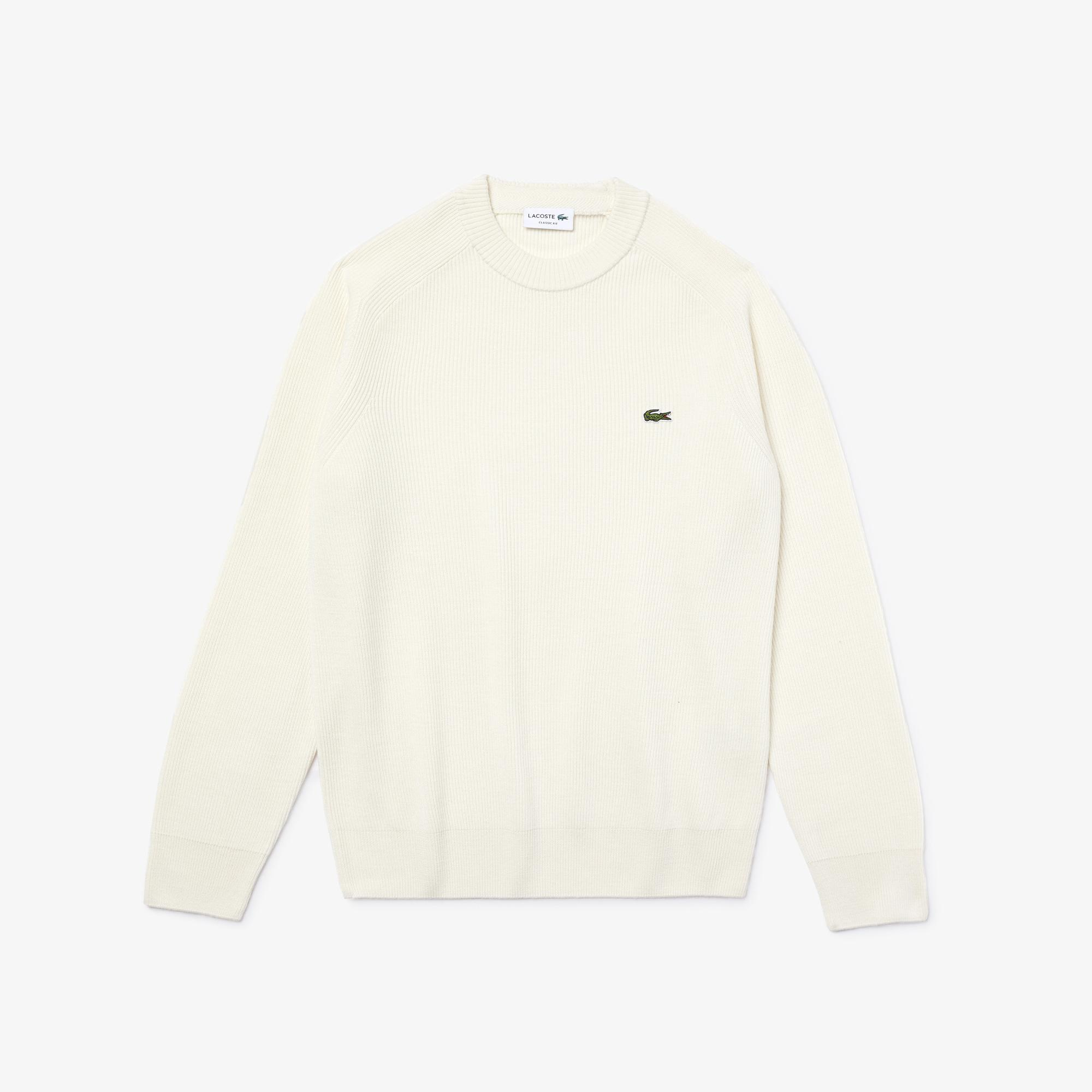 Lacoste Men's Crew Neck Ribbed Wool Blend Sweater