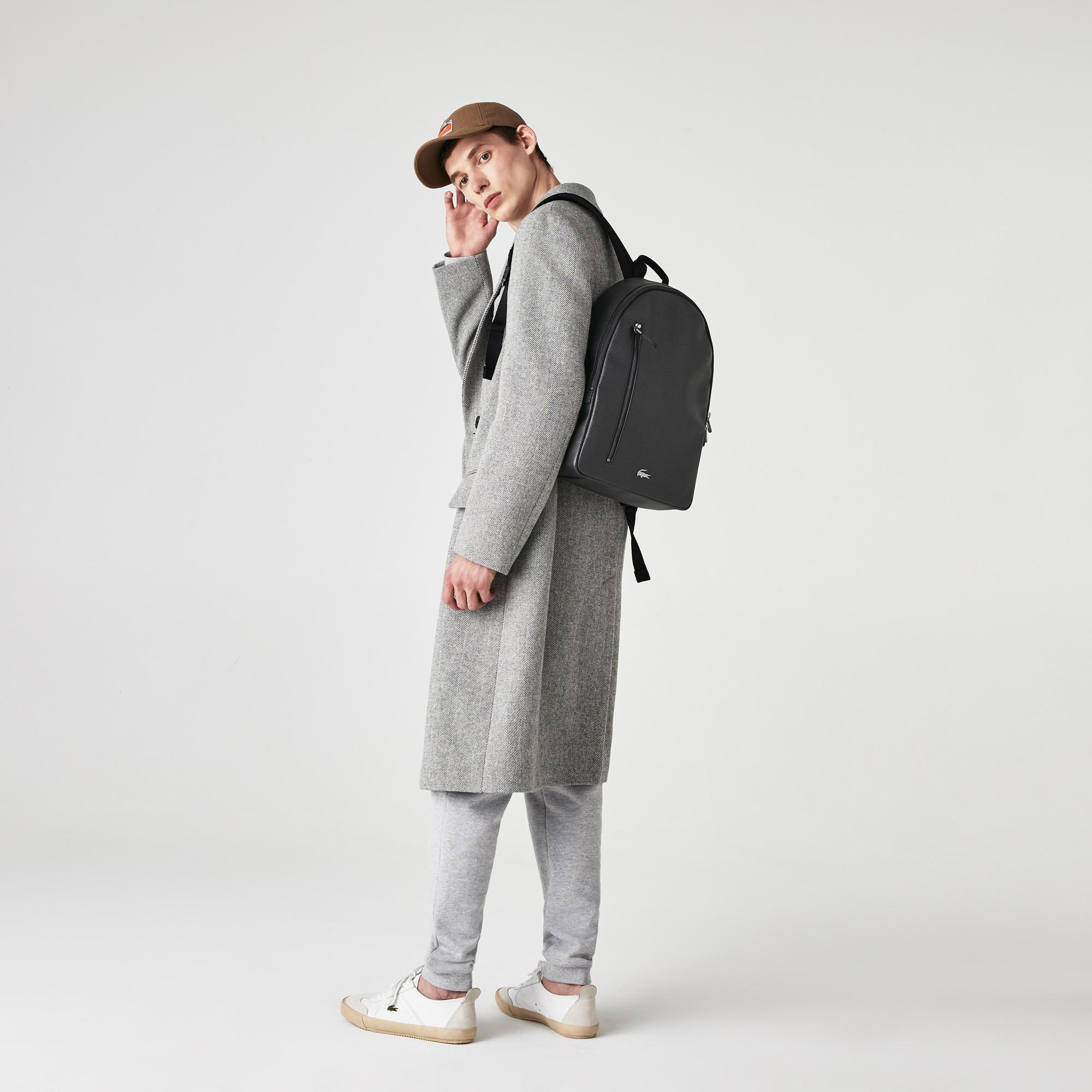 Lacoste Men's Soft Mate Matte Full-Grain Leather Flat Backpack
