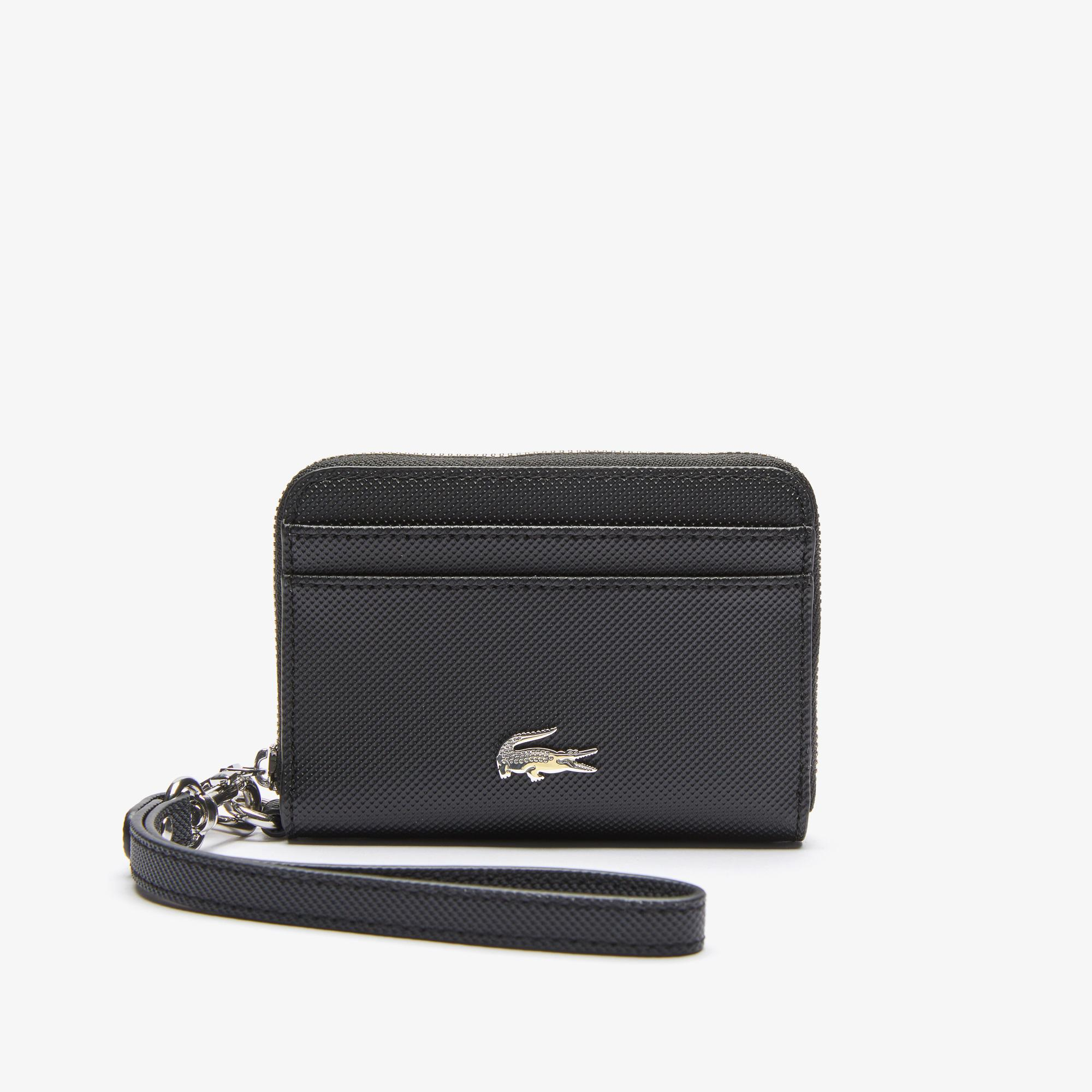 Lacoste Women's Daily Classic Small Coated Piqué Canvas Zip Wallet