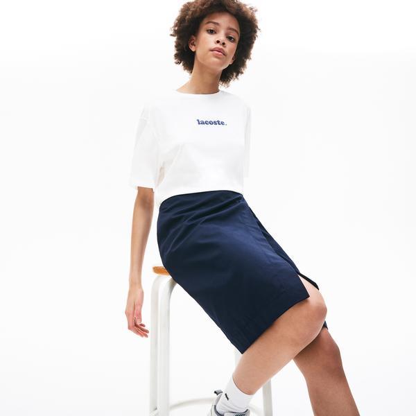 Lacoste Women's Signature Printed Crew Neck Cotton T-Shirt