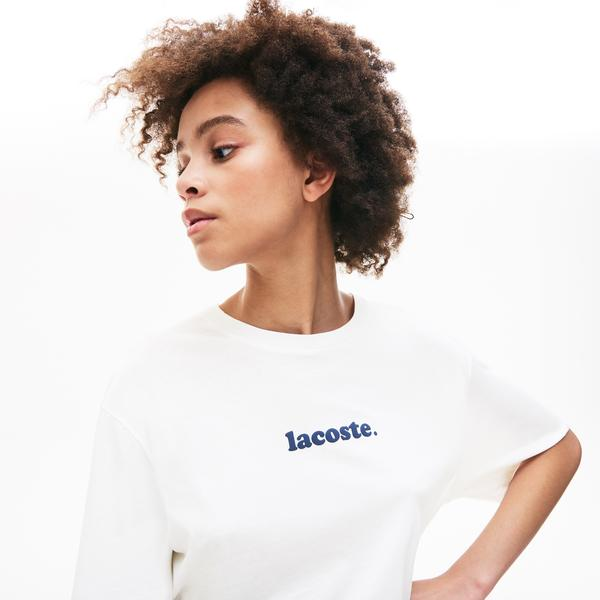 Lacoste Women's Signature Printed Crew Neck Cotton T-Shirt