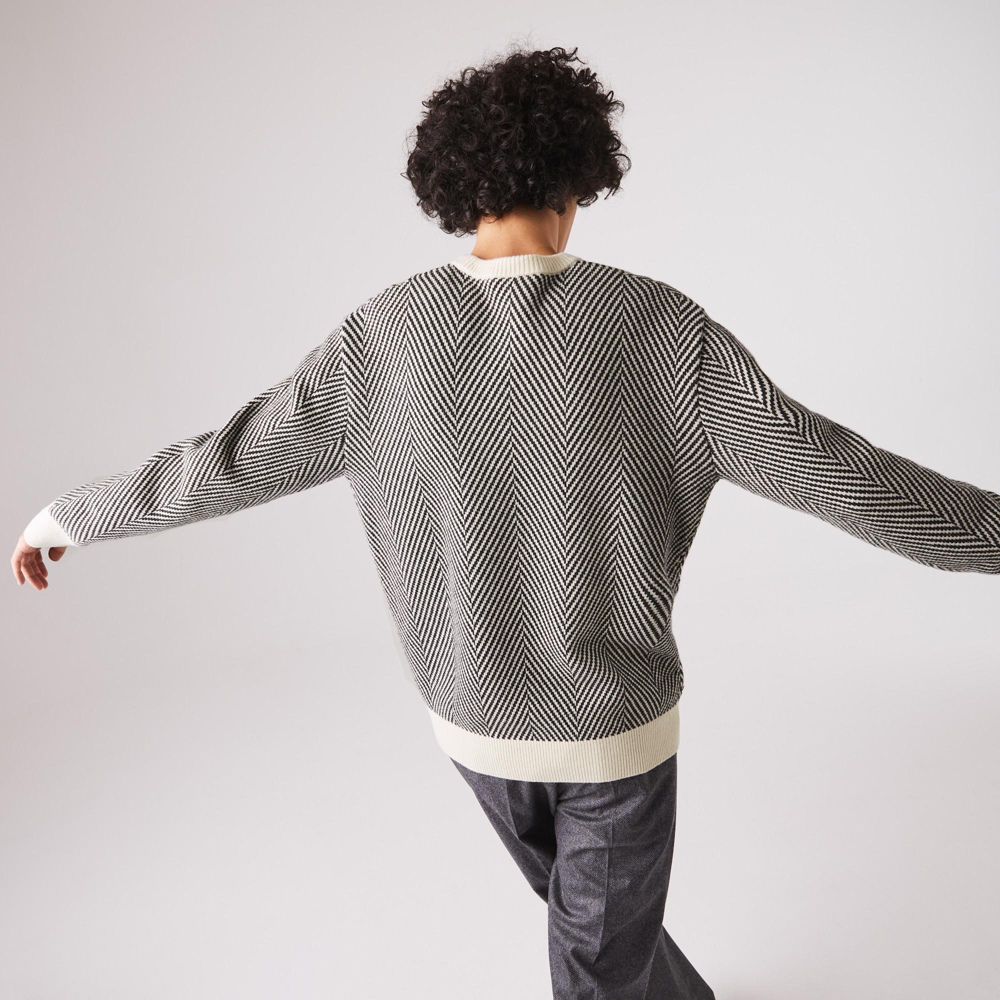 Lacoste Men's Textured Eco-Friendly Wool Crew Neck Sweater