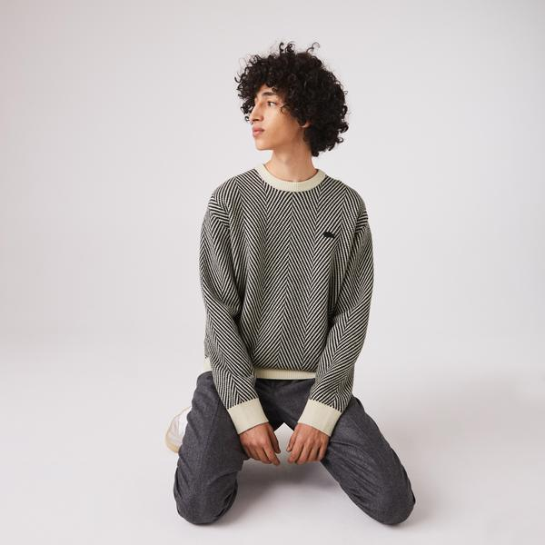Lacoste Men's Textured Eco-Friendly Wool Crew Neck Sweater