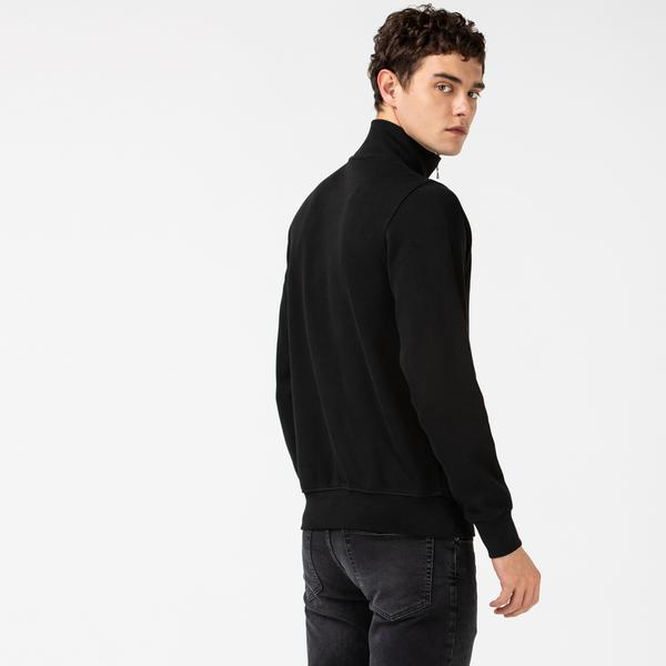 Lacoste Men's Zippered Stand-Up Collar Cotton Sweatshirt