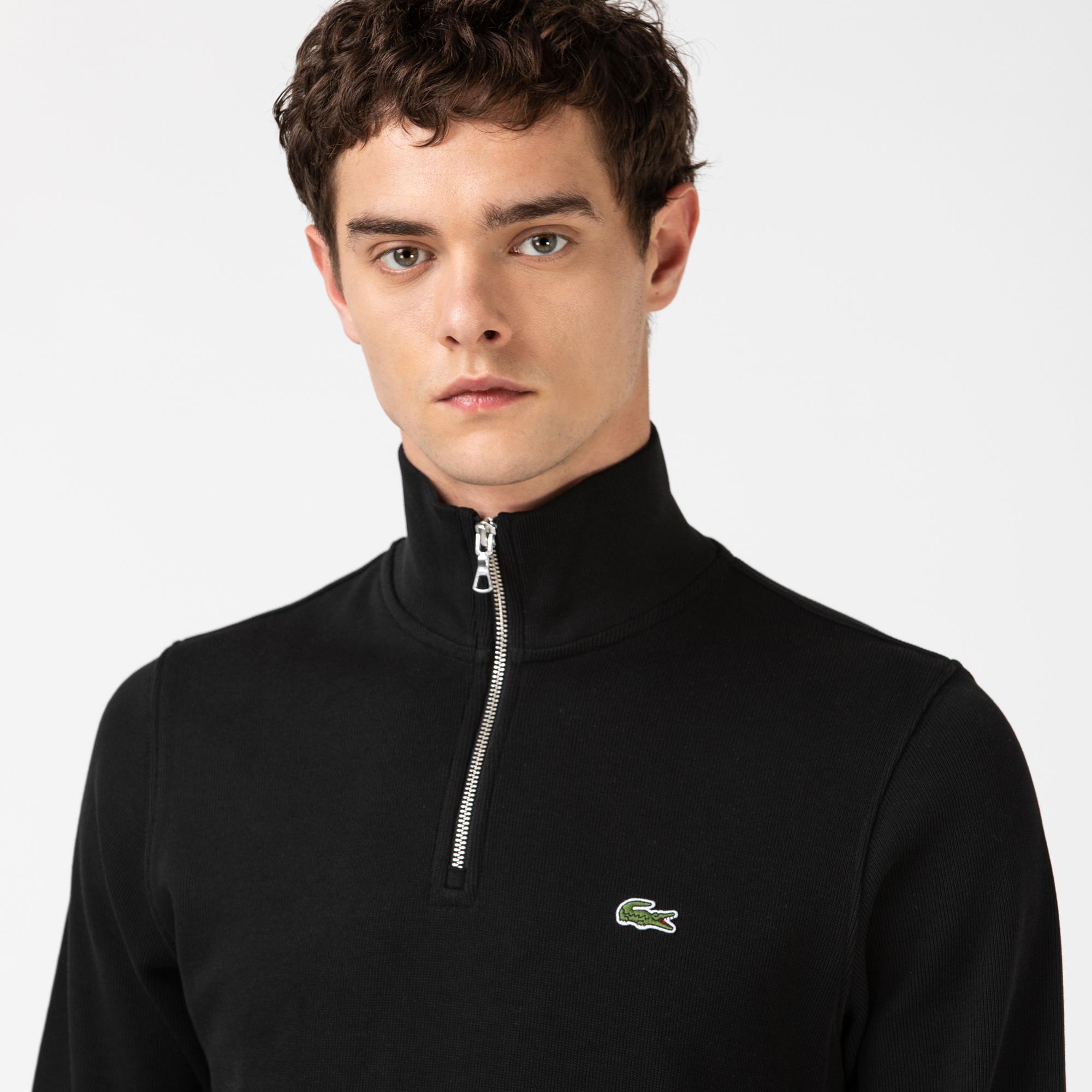 Lacoste Men's Zippered Stand-Up Collar Cotton Sweatshirt