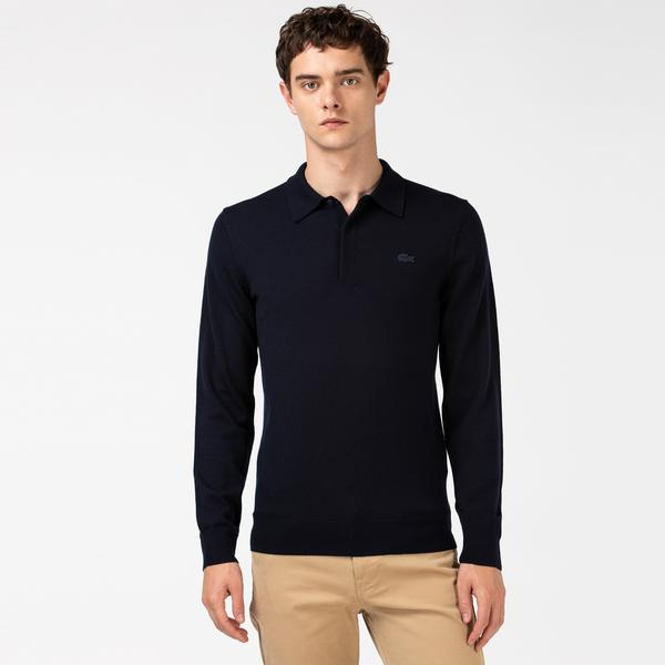 Lacoste Men's Polo Collar Merino Wool Sweater