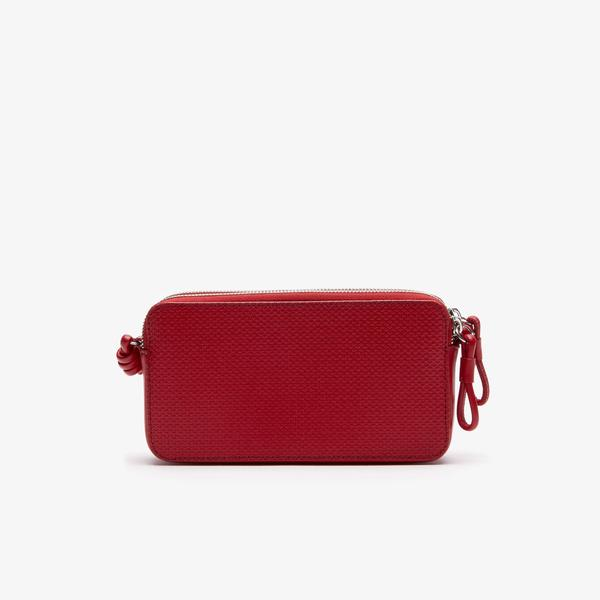 Lacoste Women's Chantaco Matte Piqué Leather Zip Smartphone Pouch