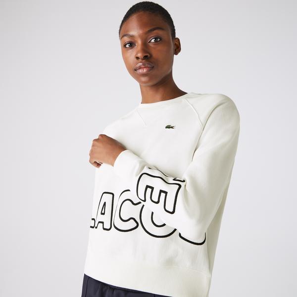 Lacoste Women's Lıve Loose Fit Print Textured Fleece Sweatshirt