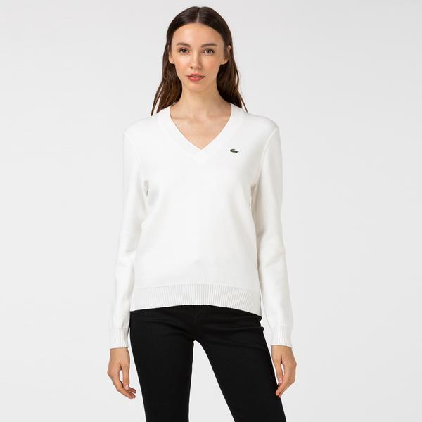Lacoste Women's V-neck Organic Cotton Sweater
