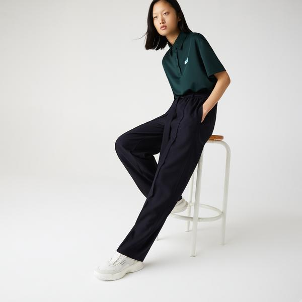 Lacoste Women's High-Waisted Flared Wool Blend Pants