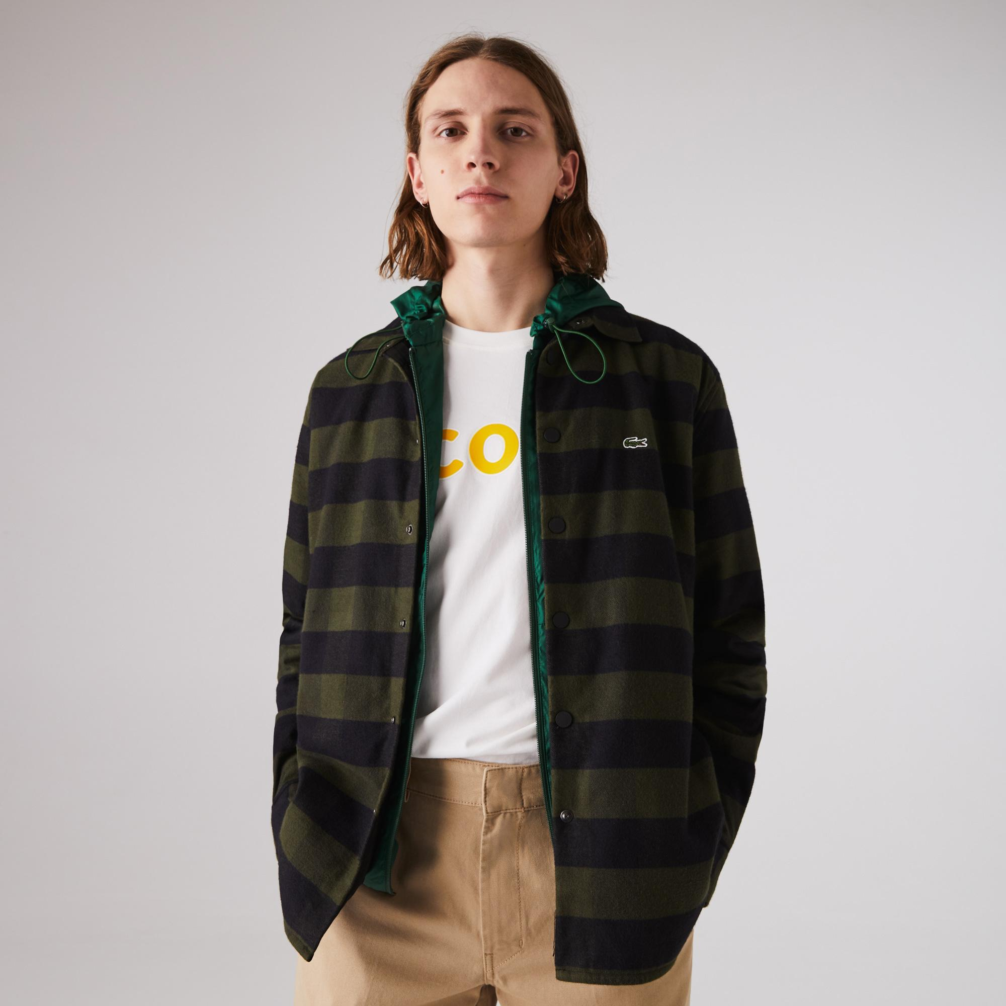 Lacoste Men's Checked Quilted Cotton Flannel Overshirt