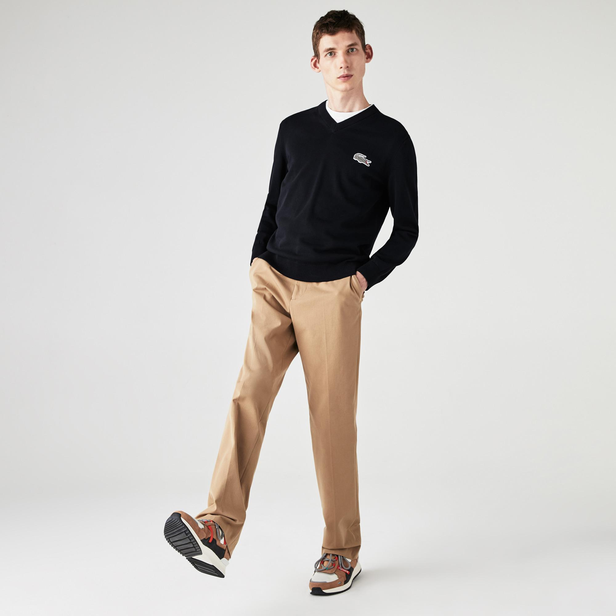 Lacoste x National Geographic Men's V-neck Cotton Sweater