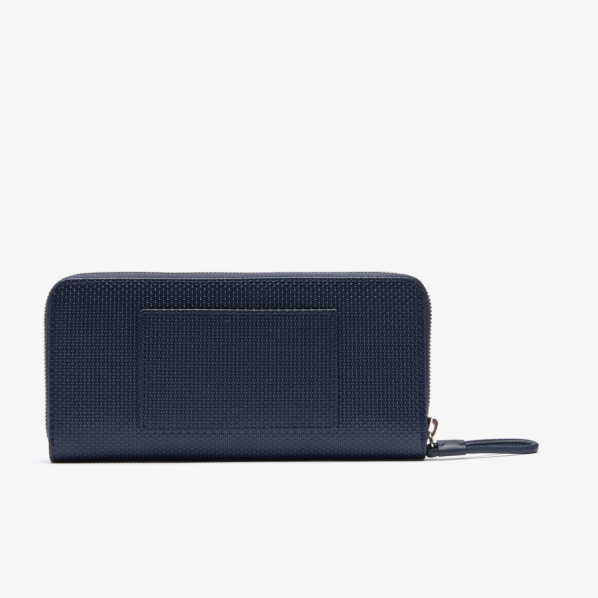 Lacoste Women's Chantaco Matte Piqué Leather Zip Wallet