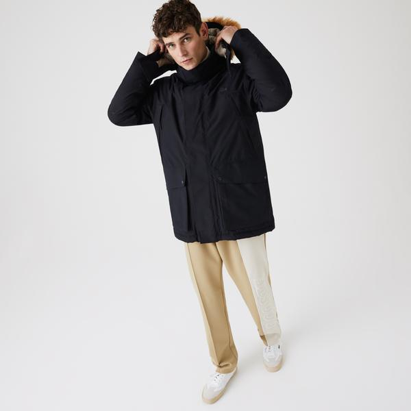 Lacoste Men's Long Water-Resistant Quilted Hooded Parka