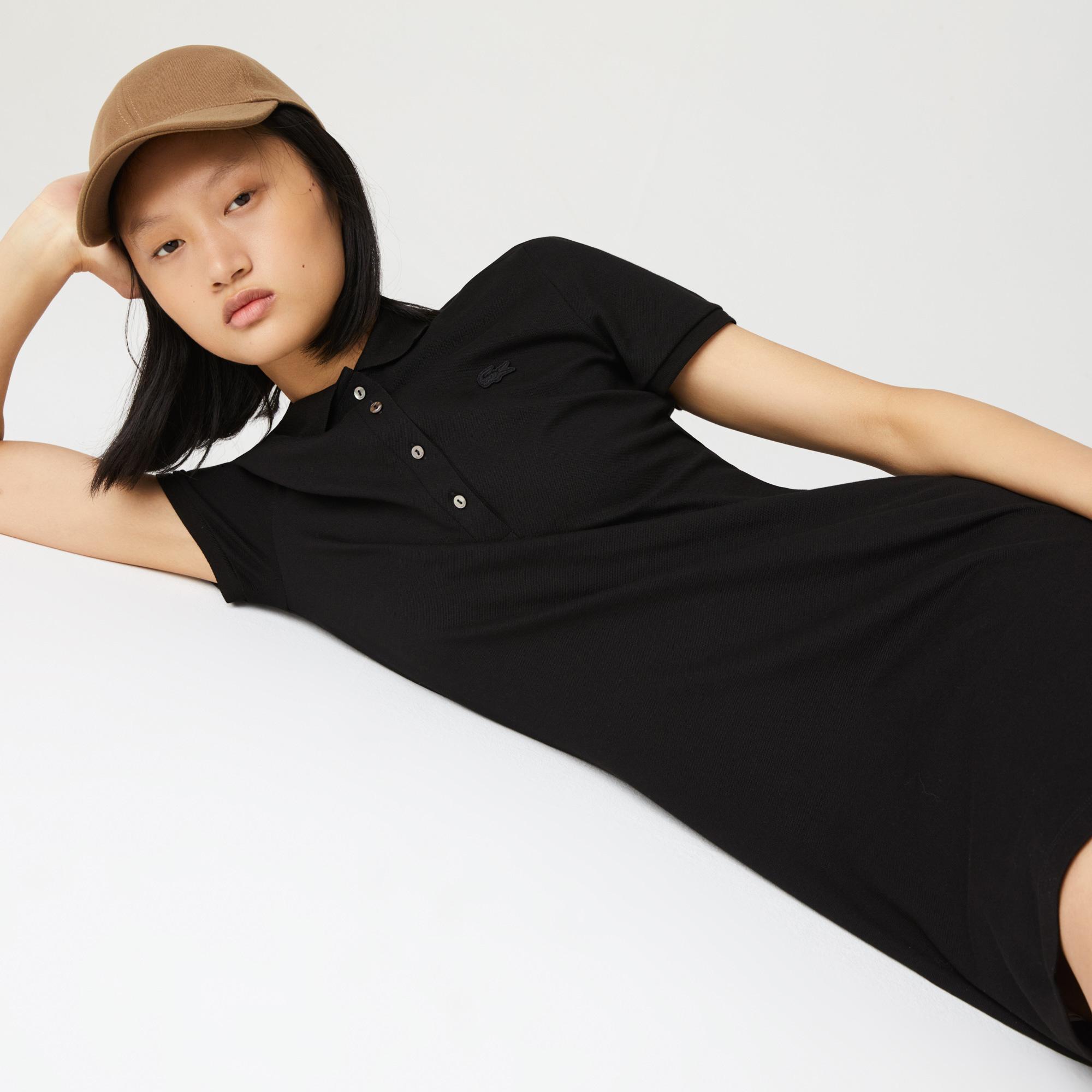Damen Polokleid Lacoste Women Stretch Cotton Piqué Polo Dress Black EF5473-031