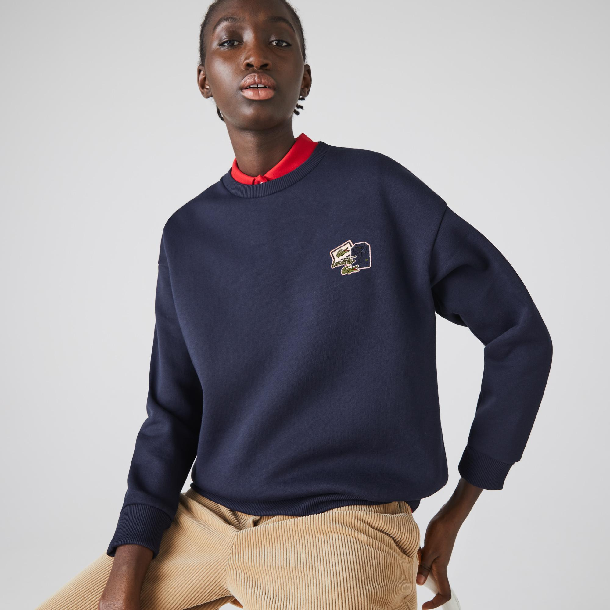 Lacoste Women's Crew Neck Badge Fleece Sweatshirt