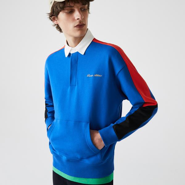 Lacoste Men's LIVE Colorblock Fleece Polo Shirt Sweatshirt